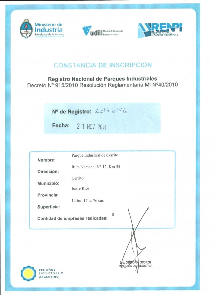 Certificado RENPI